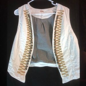 Free People Shrunken Military Vest cropped M